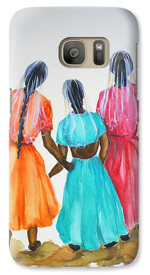 Three Ladies East Indian Galaxy S7 Case featuring the painting 3bff by Karin Dawn Kelshall- Best