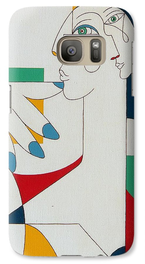 Portrait Galaxy S7 Case featuring the painting 5 Fingers by Hildegarde Handsaeme
