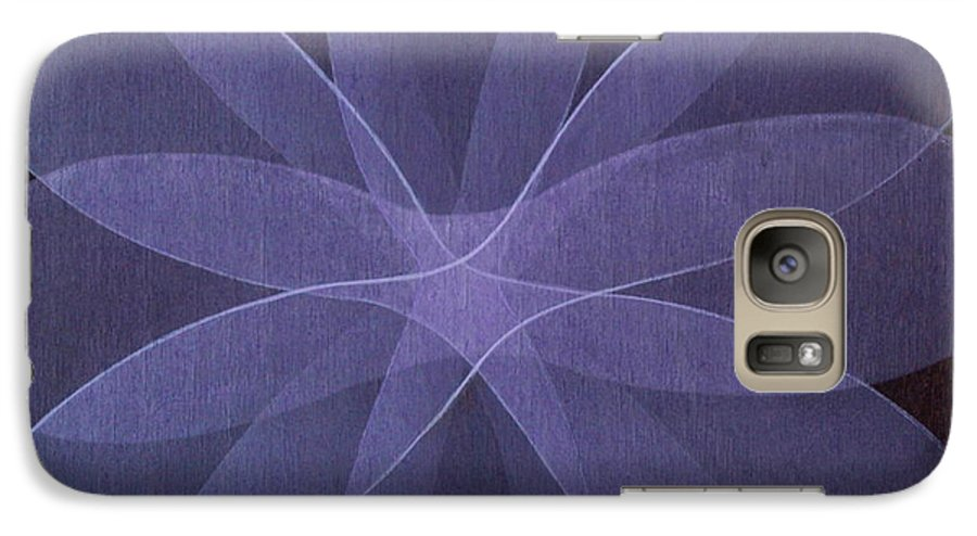 Abstract Galaxy S7 Case featuring the painting Abstract Flower by Jitka Anlaufova