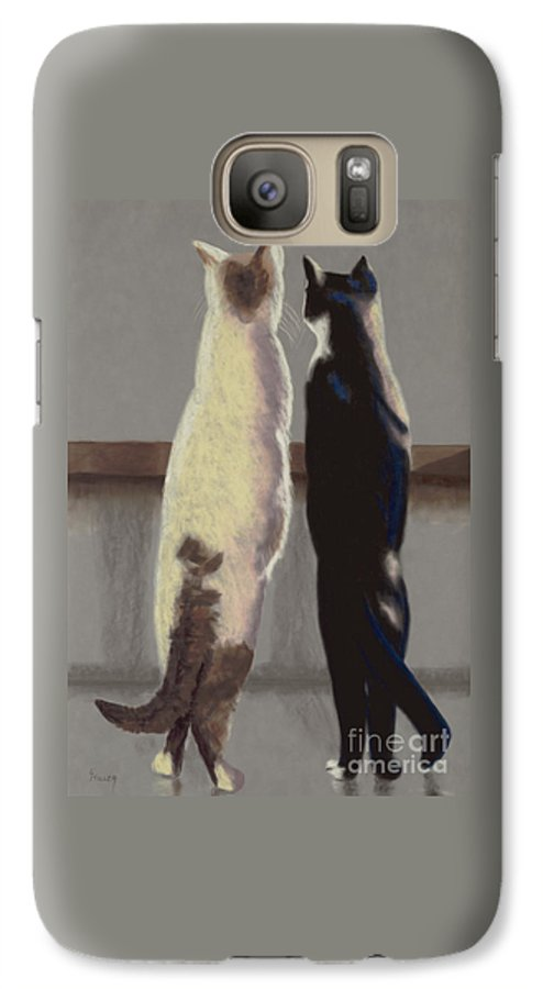 Cat Galaxy S7 Case featuring the painting A Bird by Linda Hiller