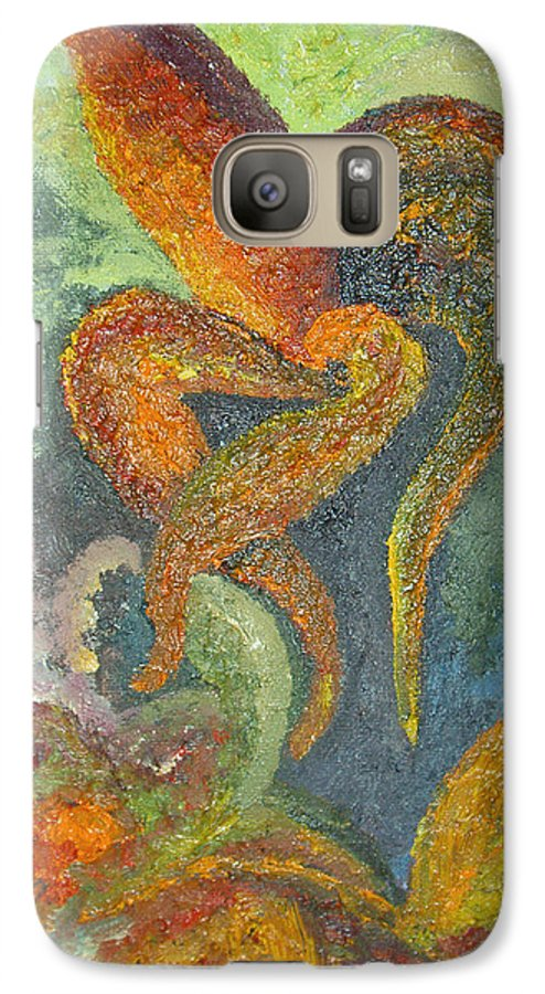 Flower Galaxy S7 Case featuring the painting A Dancing Flower by Karina Ishkhanova