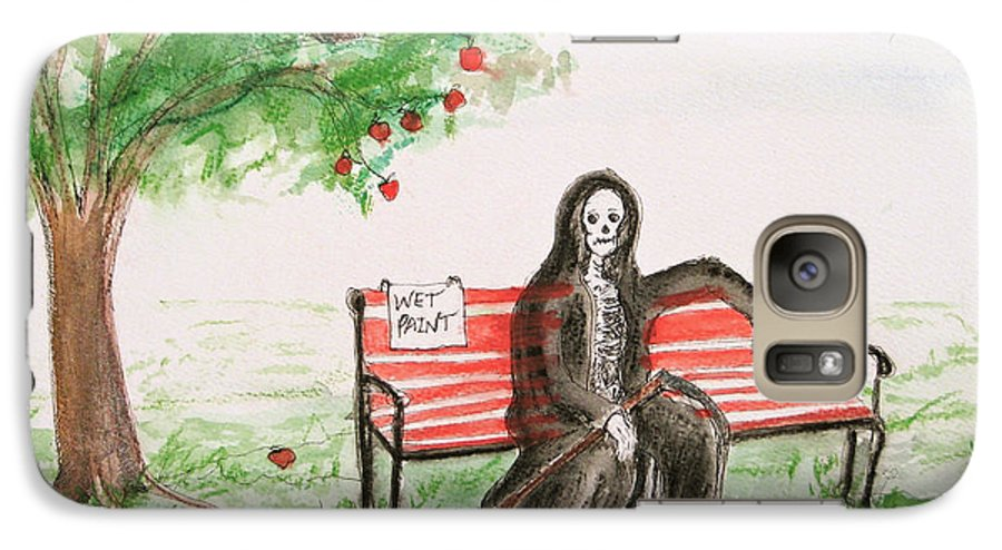 Darkestartist Day Death Holiday Humor Ink Off Paint Park Watercolor Watercolour Galaxy S7 Case featuring the painting A Day At The Park by Darkest Artist