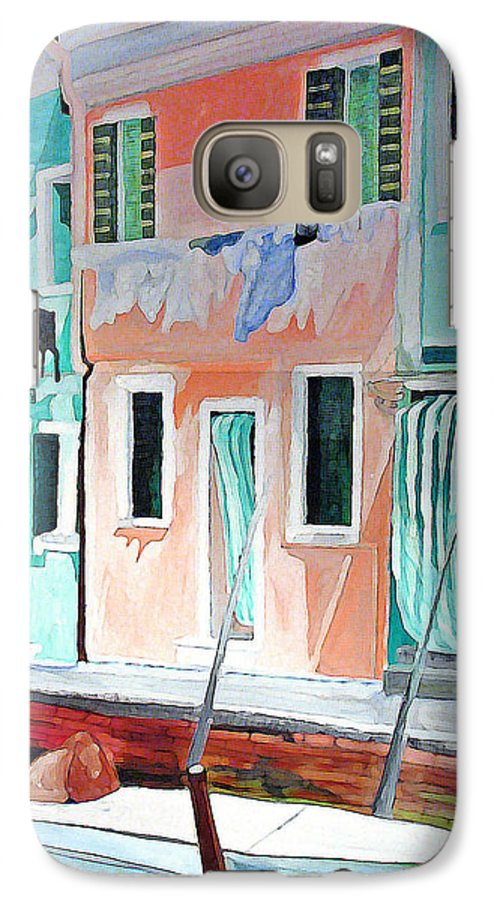 Italy Galaxy S7 Case featuring the painting A Day In Burrano by Patricia Arroyo