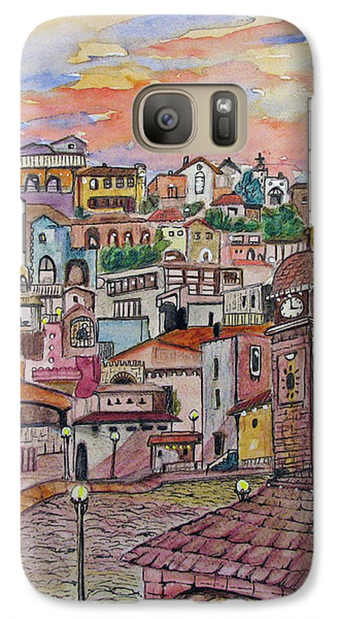 Townscape Galaxy S7 Case featuring the painting A Little Town In France by Patricia Arroyo