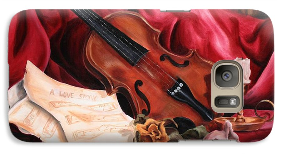 Violin Galaxy S7 Case featuring the painting A Love Story by Maryn Crawford