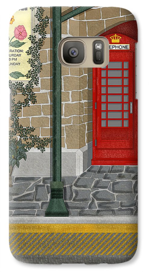 Cityscape Galaxy S7 Case featuring the painting A Merry Old Corner In London by Anne Norskog