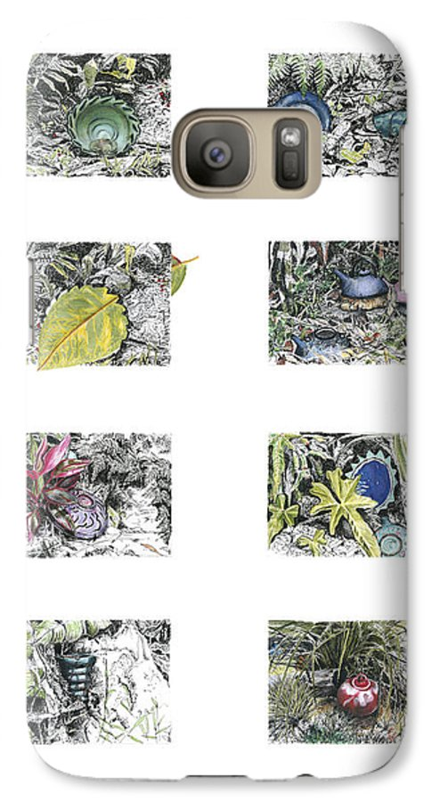 Tropical Galaxy S7 Case featuring the drawing A Potters Garden by Kerryn Madsen-Pietsch