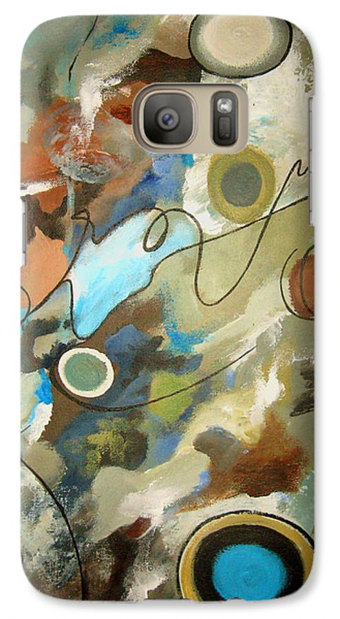 Abstract Galaxy S7 Case featuring the painting A Rolling Stone Gathers No Moss by Ruth Palmer