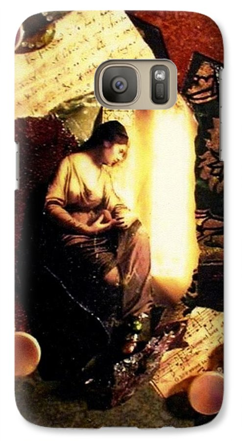 Mixed Media Galaxy S7 Case featuring the mixed media A Secret Place by Gail Kirtz