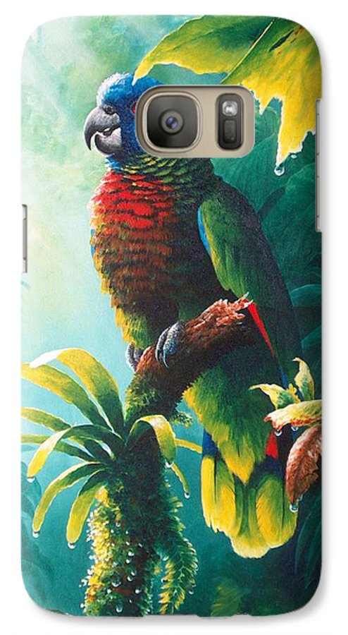 Chris Cox Galaxy S7 Case featuring the painting A Shady Spot - St. Lucia Parrot by Christopher Cox