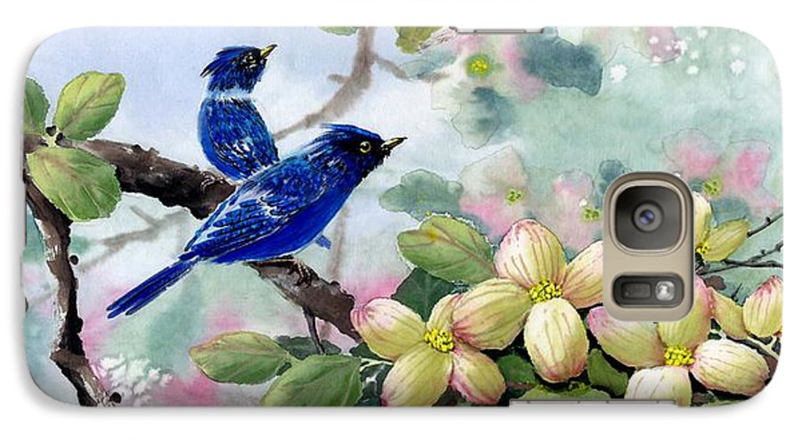 Blue Jays Galaxy S7 Case featuring the painting A Touch Of Pink On White by Eileen Fong