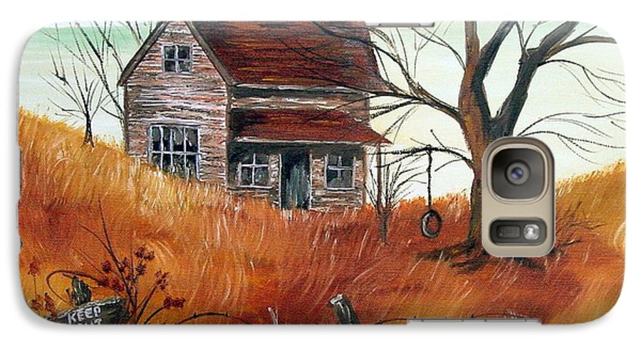 Landscape Galaxy S7 Case featuring the painting Abandoned Farmhouse by Quwatha Valentine