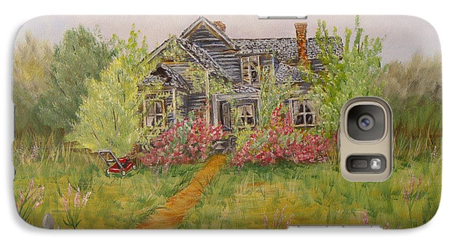 Landscape Galaxy S7 Case featuring the painting Abandoned House by Quwatha Valentine