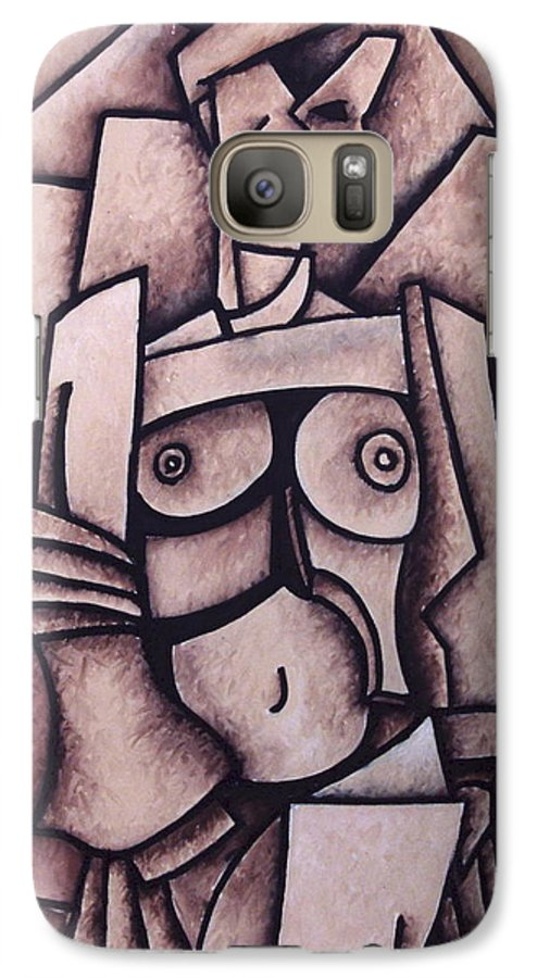 Absract Galaxy S7 Case featuring the painting Absract Girl by Thomas Valentine