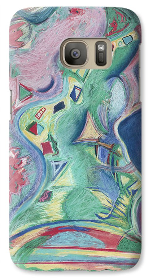 Abstract Galaxy S7 Case featuring the painting Abstract 92 - Inner Landscape by Kerryn Madsen- Pietsch