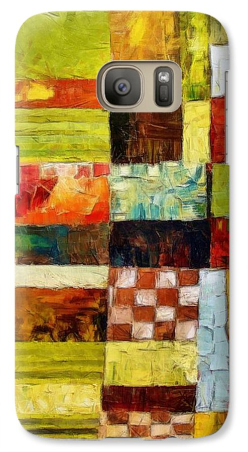 Patchwork Galaxy S7 Case featuring the painting Abstract Color Study With Checkerboard And Stripes by Michelle Calkins