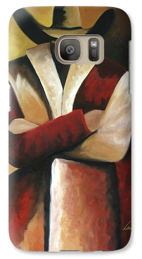Galaxy S7 Case featuring the painting Abstract Cowboy by Lance Headlee