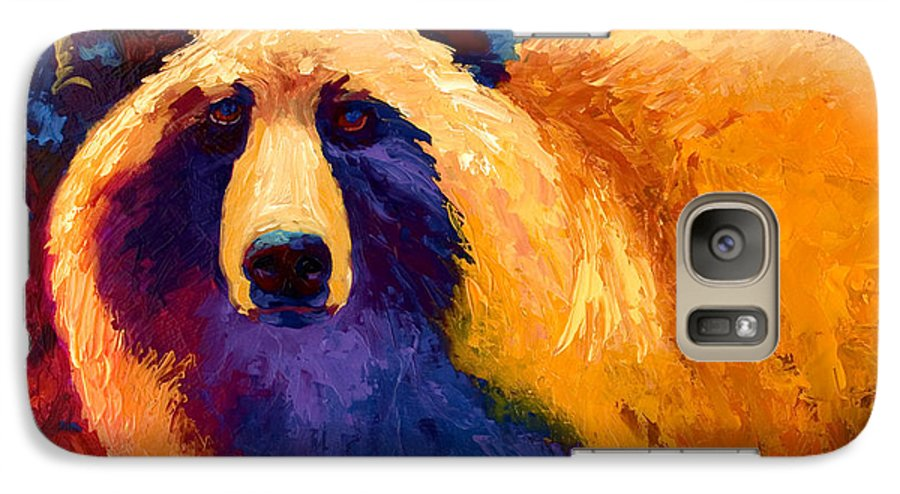 Western Galaxy S7 Case featuring the painting Abstract Grizz II by Marion Rose