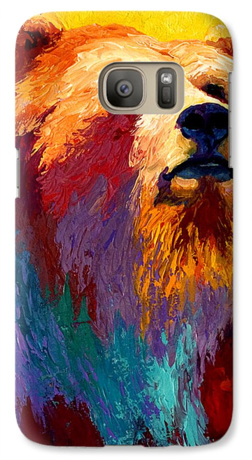 Western Galaxy S7 Case featuring the painting Abstract Grizz by Marion Rose
