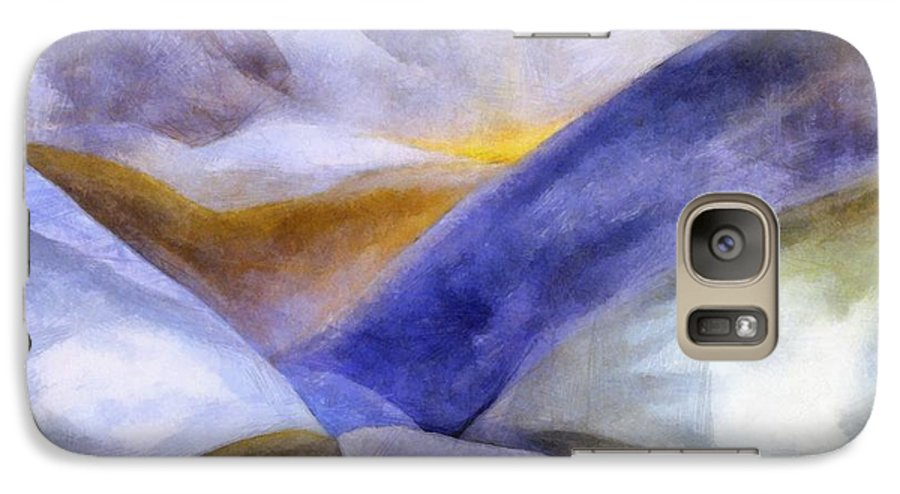 Blue Galaxy S7 Case featuring the painting Abstract Mountain Landscape by Michelle Calkins