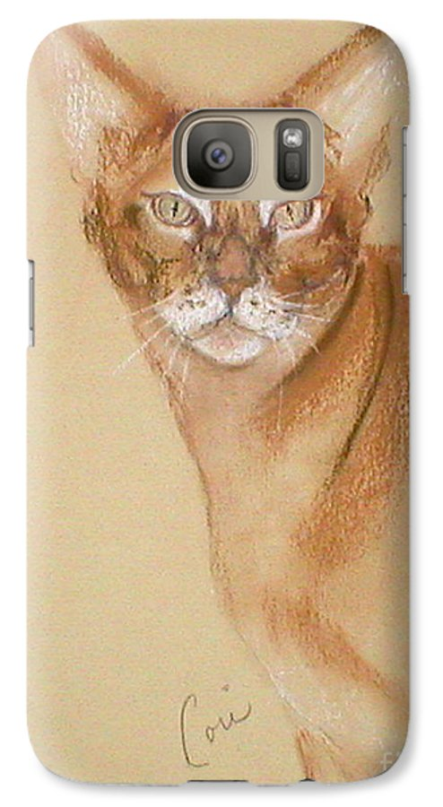 Pastel Galaxy S7 Case featuring the drawing Abyssinian by Cori Solomon