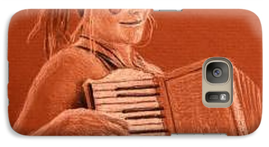 Accordion Galaxy S7 Case featuring the drawing Accordion Girl by Michael Beckett