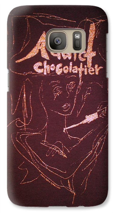 Dark Chocolate Galaxy S7 Case featuring the drawing Addict Chocolatier by Ayka Yasis