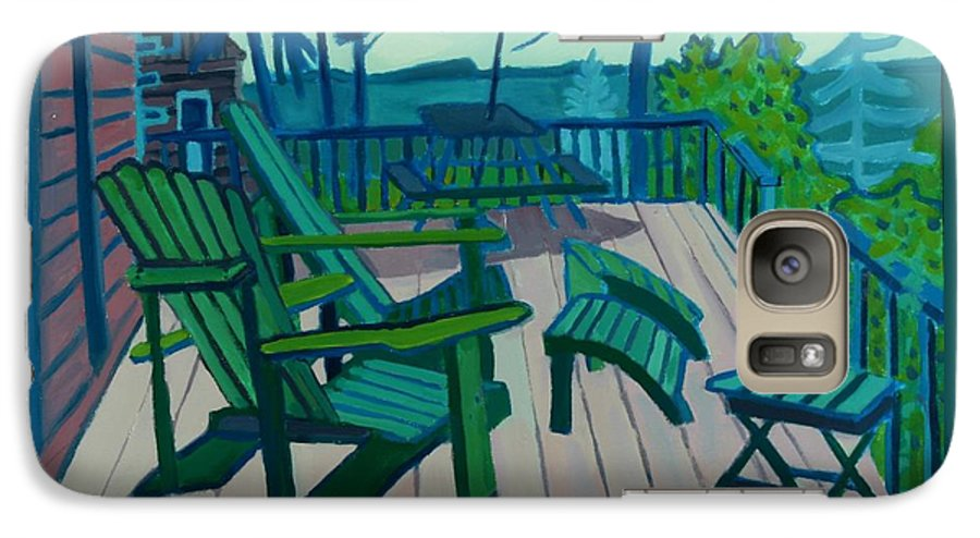Ocean Galaxy S7 Case featuring the painting Adirondack Chairs Maine by Debra Bretton Robinson