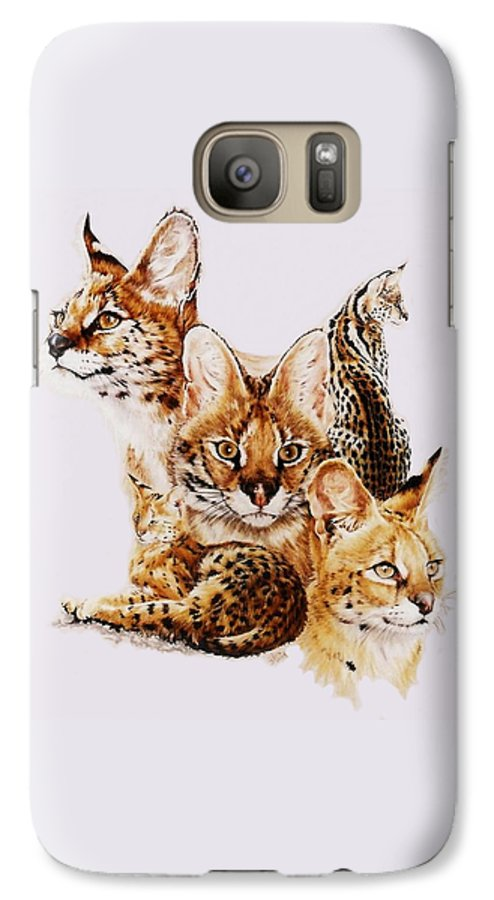 Serval Galaxy S7 Case featuring the drawing Adroit by Barbara Keith