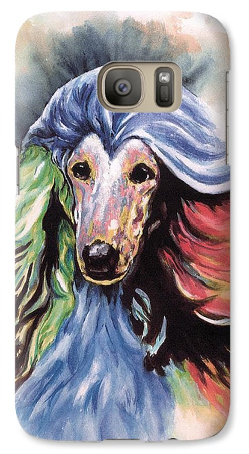 Afghan Hound Galaxy S7 Case featuring the painting Afghan Storm by Kathleen Sepulveda