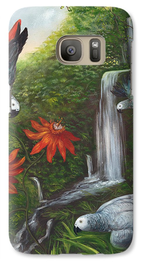 Landscape Galaxy S7 Case featuring the painting African Grays by Anne Kushnick