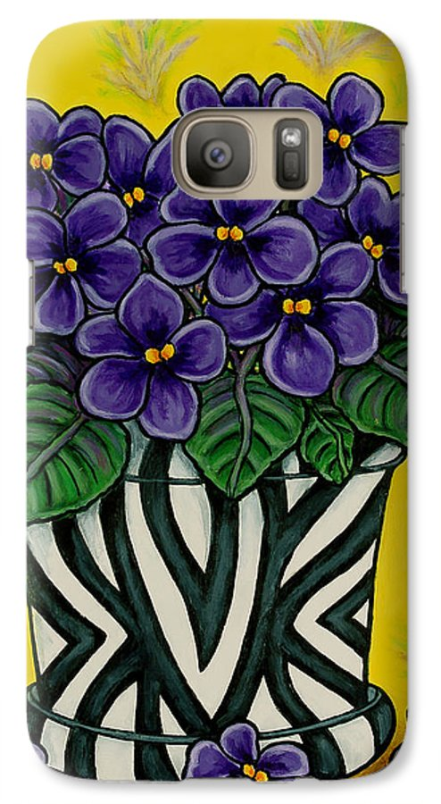 Violets Galaxy S7 Case featuring the painting African Queen by Lisa Lorenz
