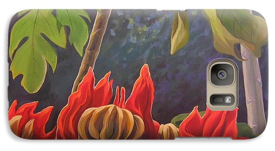 African Tulip Galaxy S7 Case featuring the painting African Tulip by Hunter Jay