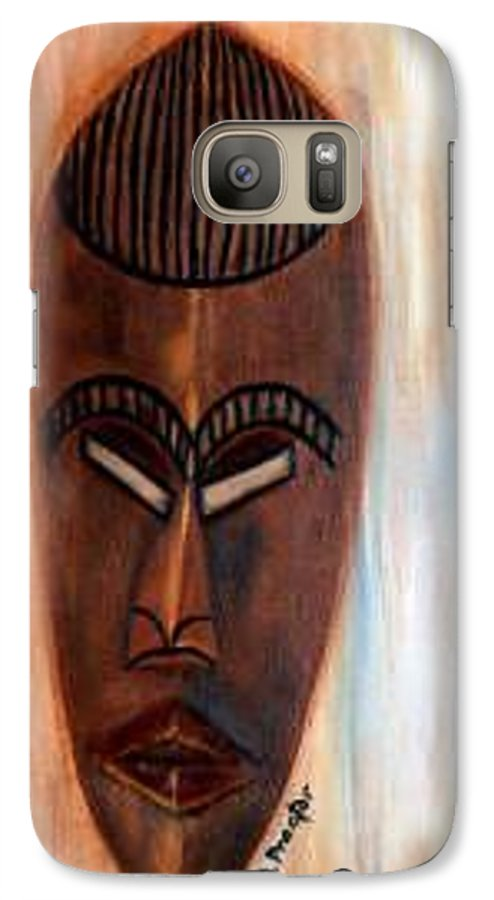African Galaxy S7 Case featuring the painting African Warrior by Donna Proctor