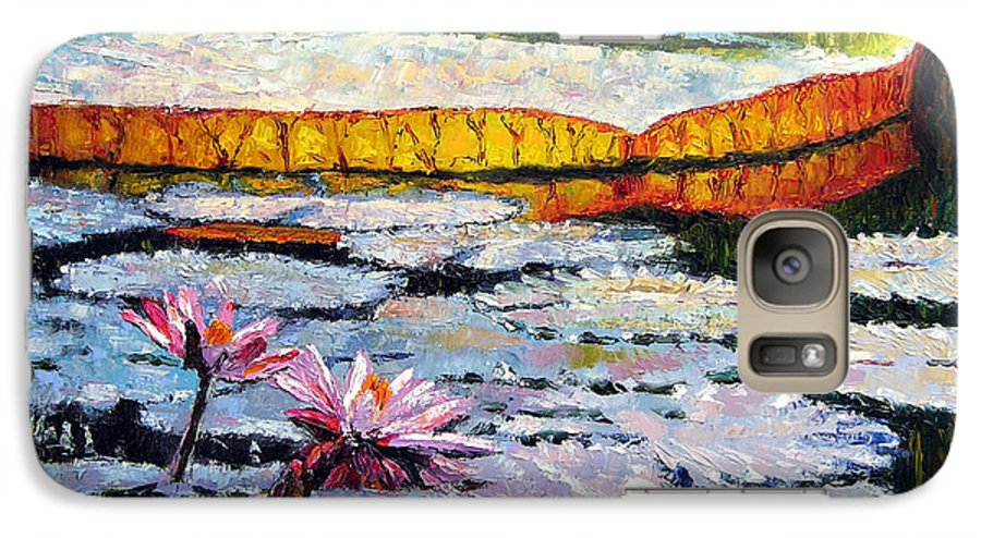 Water Lilies Galaxy S7 Case featuring the painting Afternoon Shadows by John Lautermilch