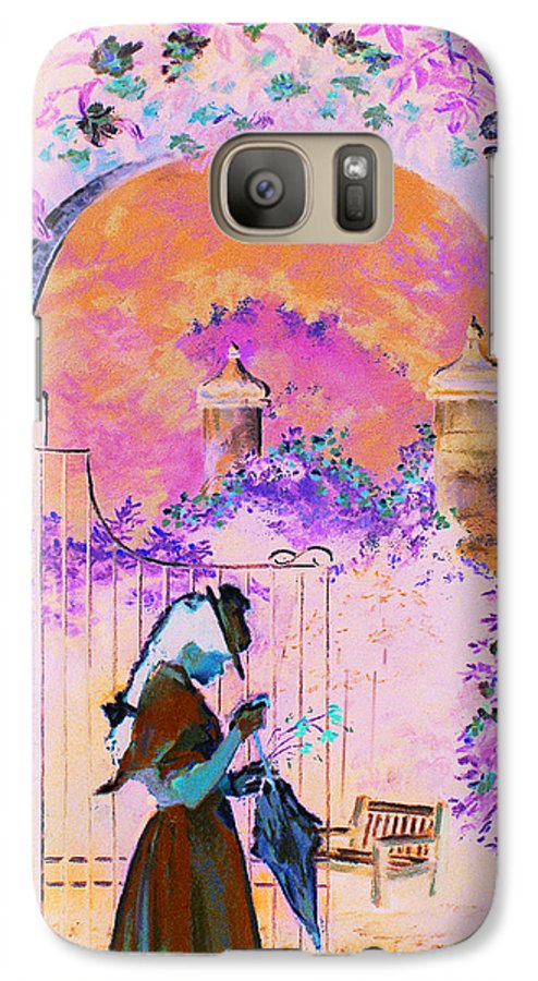 Rose Galaxy S7 Case featuring the painting Afternoon Stroll by Jean Hildebrant