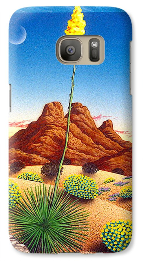 Agave Cactus Galaxy S7 Case featuring the painting Agave Bloom by Snake Jagger
