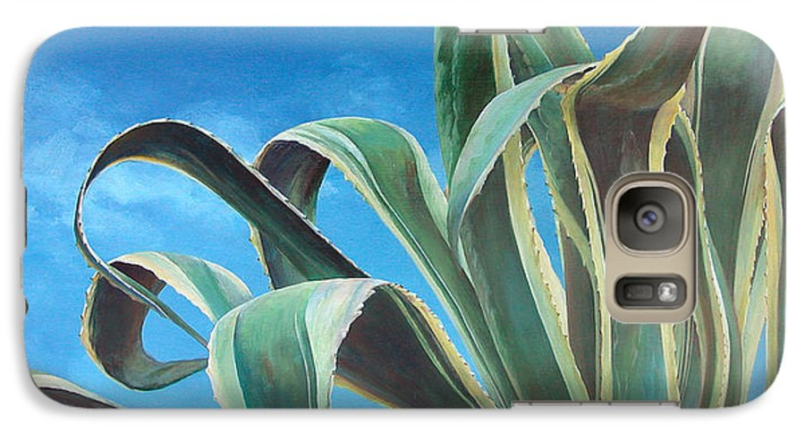 Floral Painting Galaxy S7 Case featuring the painting Agave by Muriel Dolemieux