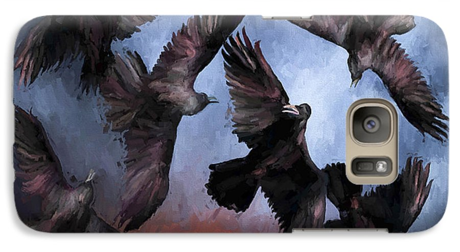Fine Art Galaxy S7 Case featuring the painting Airborne Unkindness by David Wagner
