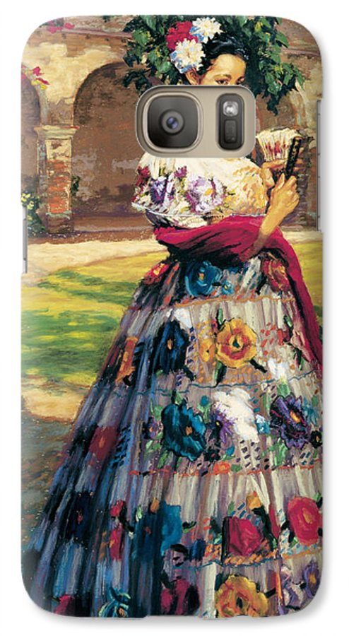 Woman Elaborately Embroidered Mexican Dress. Background Mission San Juan Capistrano. Galaxy S7 Case featuring the painting Al Aire Libre by Jean Hildebrant