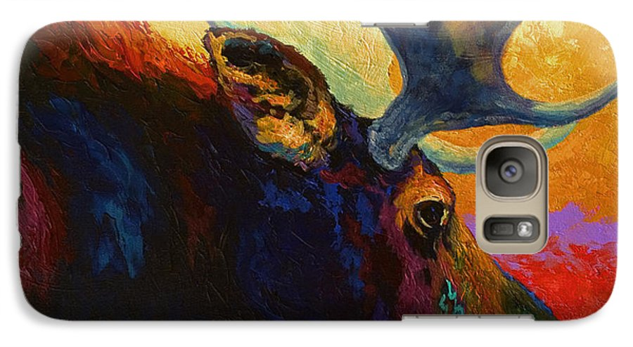 Moose Galaxy S7 Case featuring the painting Alaskan Spirit - Moose by Marion Rose