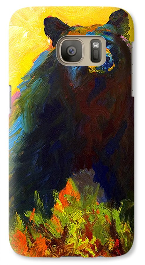 Western Galaxy S7 Case featuring the painting Alert - Black Bear by Marion Rose