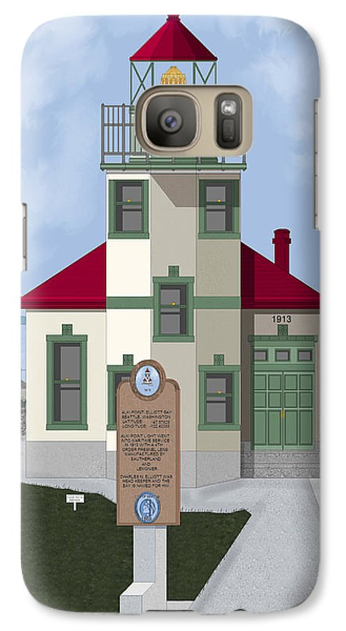 Lighthouse Galaxy S7 Case featuring the painting Alki Point On Elliott Bay by Anne Norskog