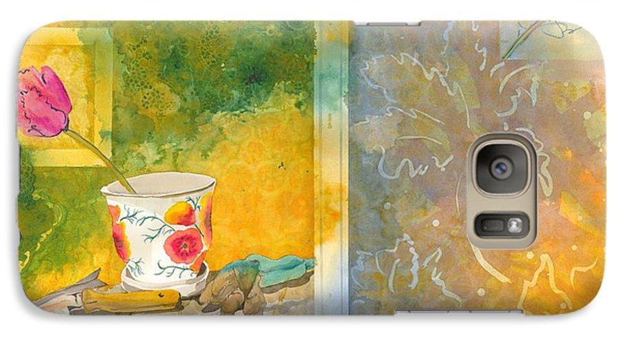 Garden Galaxy S7 Case featuring the painting Along The Garden Wall by Jean Blackmer