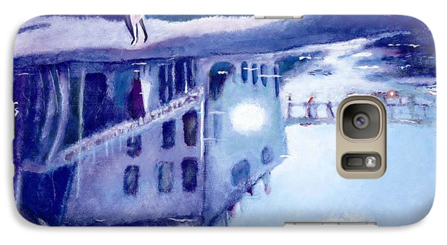 Cityscape Galaxy S7 Case featuring the painting Always Two by Olga Alexeeva