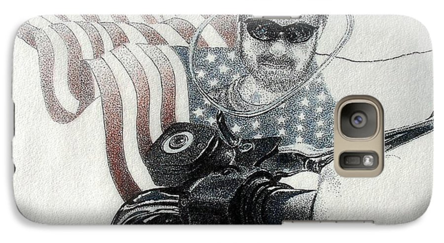 Motorcycles Harley American Flag Cycles Biker Galaxy S7 Case featuring the drawing American Rider by Tony Ruggiero