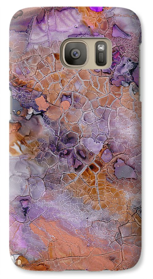 Abstract Galaxy S7 Case featuring the mixed media Amethyst And Copper by Susan Kubes