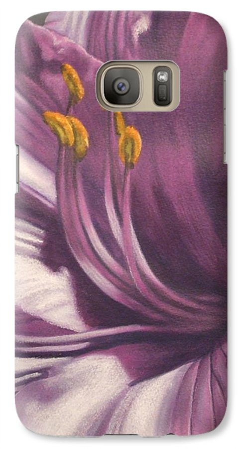 Floral Galaxy S7 Case featuring the mixed media Amethyst by Barbara Keith