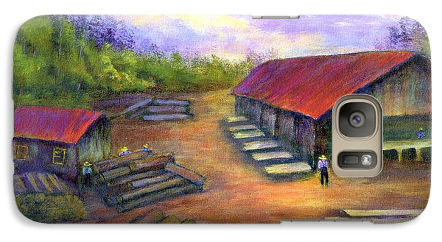 Amish Galaxy S7 Case featuring the painting Amish Lumbermill by Gail Kirtz