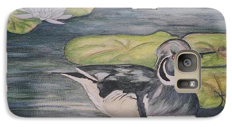 Wood Duck Galaxy S7 Case featuring the painting Among The Lillypads by Debra Sandstrom